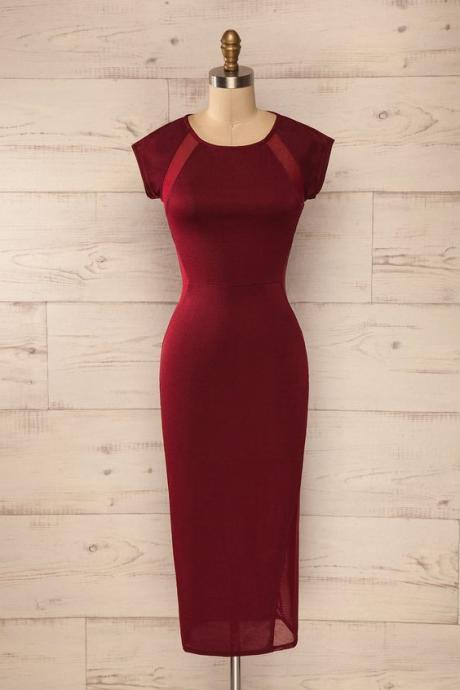 Red Prom Dress,Bodycon Prom Dress,Short Sleeve Prom Dress,Fashion Prom Dress,Sexy Party Dress,New Style Evening Dress