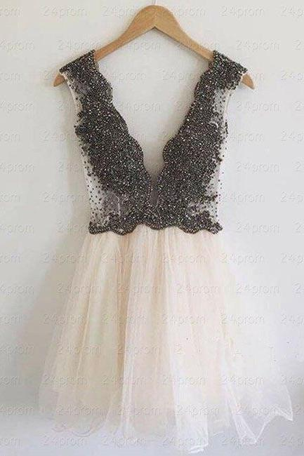 Exquisite Homecoing Dress,Beaded Prom Dress,Illusion Prom Dress,Fashion Prom Dress,Sexy Party Dress, 2017 New Evening Dress