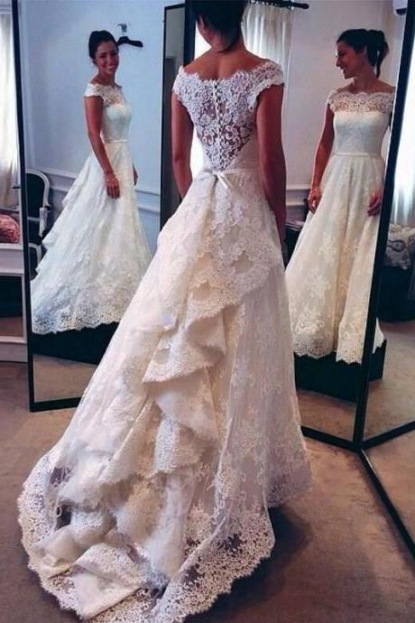 Modest Prom Dress With Train,Lace Prom Dress,Short Sleeve Prom Dress,Fashion Bridal Dress,Sexy Party Dress, New Style Evening Dress