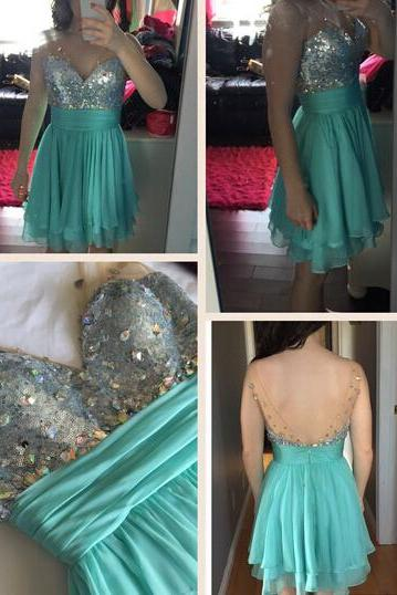 Beaded Prom Dress,Backless Prom Dress,Mini Prom Dress,Fashion Homecoming Dress,Sexy Party Dress, New Style Evening Dress