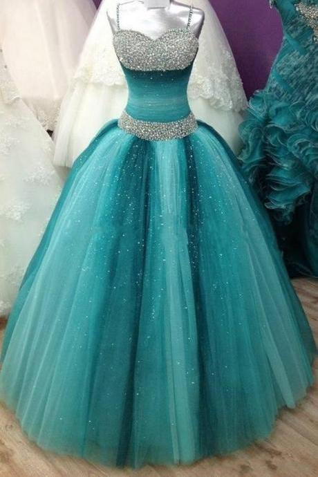 Sparkly Ball Gown,Beaded Prom Dress,Illusion Prom Dress,Fashion Prom Dress,Sexy Party Dress, New Style Evening Dress