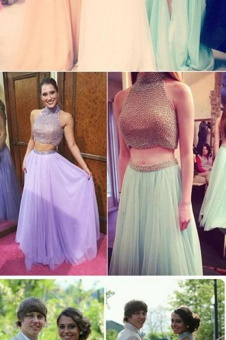 Two Pieces Prom Dress,Halter Prom Dress,Beaded Prom Dress,Fashion Bridesmaid Dress,Sexy Party Dress, New Style Evening Dress