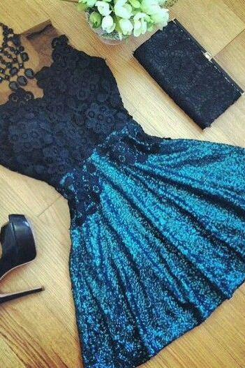 Black Prom Dress,Lace Prom Dress,Mini Prom Dress,Fashion Homecoming Dress,Sexy Party Dress, New Style Evening Dress