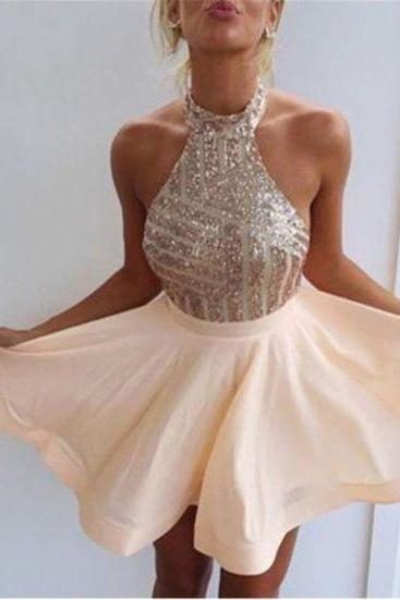 Halter Prom Dress,Sequins Prom Dress,Chiffon Prom Dress,Fashion Homecoming Dress,Sexy Party Dress, New Style Evening Dress
