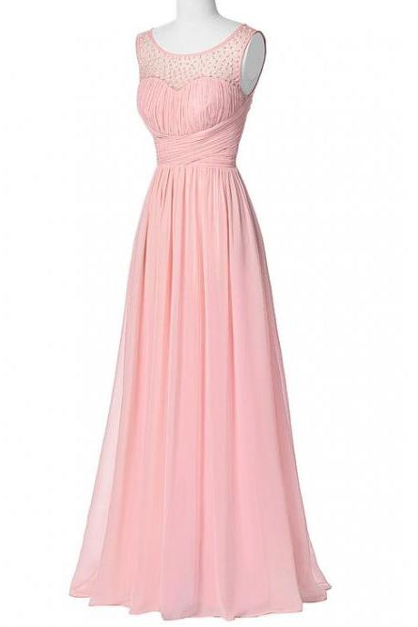 Pink Prom Dress,Bead Prom Dress,Maxi Prom Dress,Fashion Prom Dress,Sexy Party Dress, New Style Evening Dress