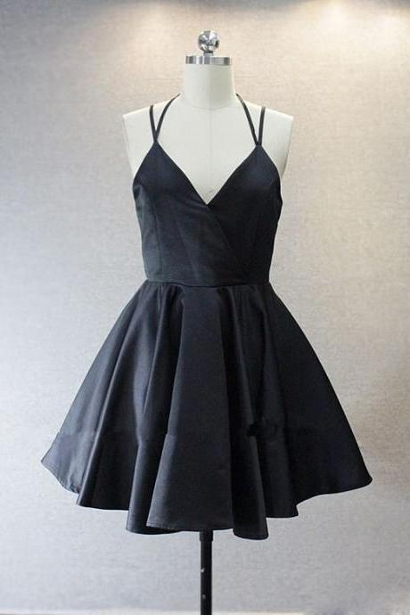 Spaghetti Prom Dress,Black Prom Dress,Mini Prom Dress,Fashion Homecomig Dress,Sexy Party Dress, New Style Evening Dress