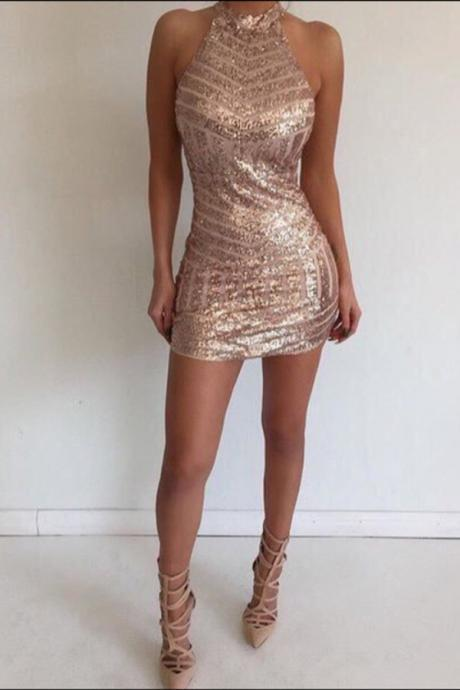 Backless Prom Dress,Halter Prom Dress,Sequins Prom Dress,Fashion Homecomig Dress,Sexy Party Dress, New Style Evening Dress