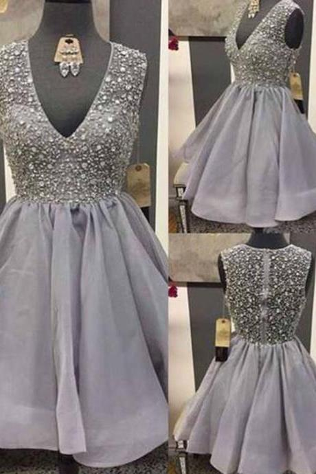 Grey Prom Dress,Beaded Prom Dress,Mini Prom Dress,Fashion Homecomig Dress,Sexy Party Dress, New Style Evening Dress