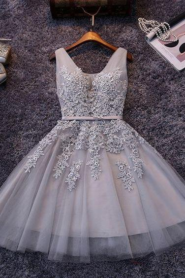 Grey Prom Dress,Applique Prom Dress,Mini Prom Dress,Fashion Homecomig Dress,Sexy Party Dress, New Style Evening Dress