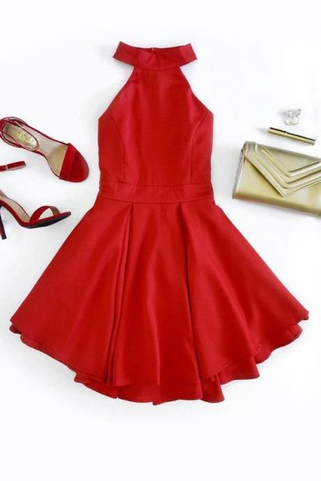 Halter Prom Dress,Red Prom Dress,Mini Prom Dress,Fashion Homecomig Dress,Sexy Party Dress, New Style Evening Dress