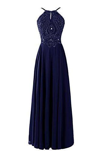 Halter Prom Dress,Beaded Prom Dress,Maxi Prom Dress,Fashion Prom Dress,Sexy Party Dress, New Style Evening Dress