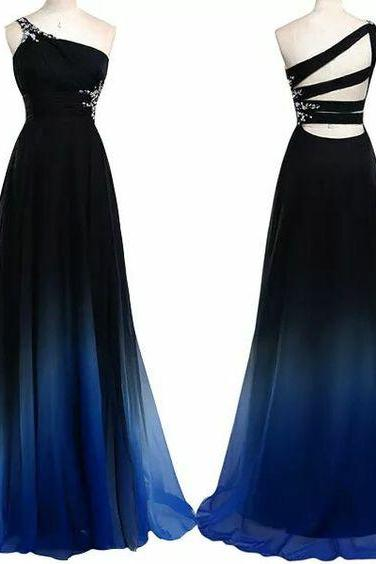Gradient Prom Dress,Beaded Prom Dress,One Shoulder Prom Dress,Fashion Prom Dress,Sexy Party Dress, New Style Evening Dress