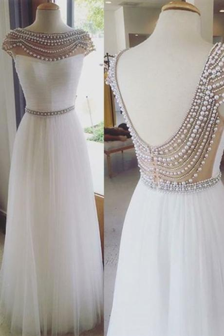 White Prom Dress,Beaded Prom Dress,Backless Prom Dress,Fashion Prom Dress,Sexy Party Dress, New Style Evening Dress