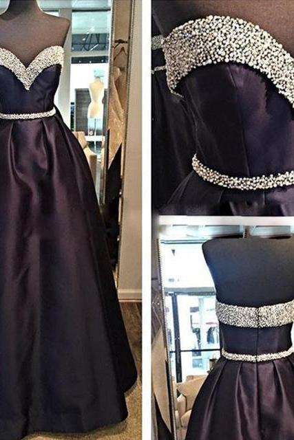 Sweetheart Prom Dress,Black Prom Dress,Beaded Prom Dress,Fashion Prom Dress,Sexy Party Dress, New Style Evening Dress