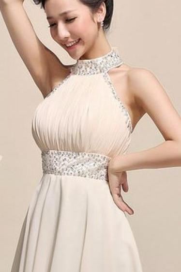 Beaded Prom Dress,Halter Prom Dress,Chiffon Prom Dress,Fashion Homecomig Dress,Sexy Party Dress, New Style Evening Dress