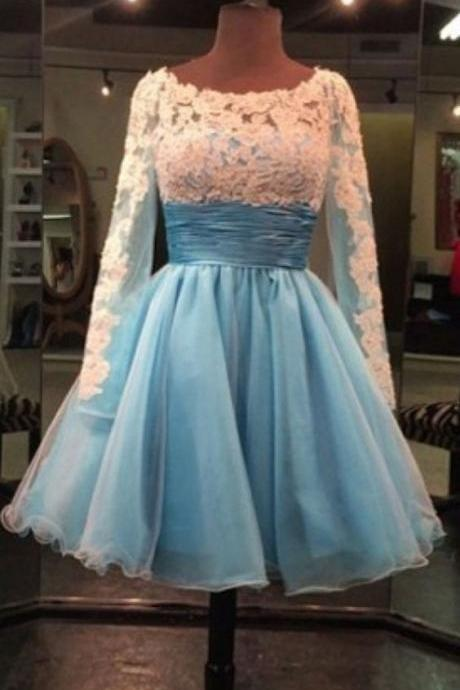 Lace Prom Dress,Long Sleeve Prom Dress,Mini Prom Dress,Fashion Homecomig Dress,Sexy Party Dress, New Style Evening Dress