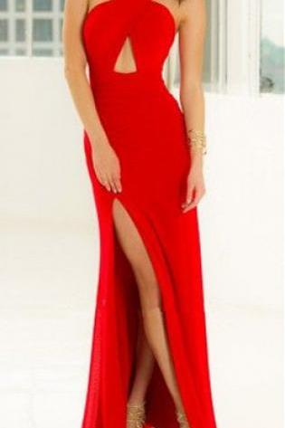 Red Prom Dress,Halter Prom Dress,Split Prom Dress,Fashion Prom Dress,Sexy Party Dress, New Style Evening Dress