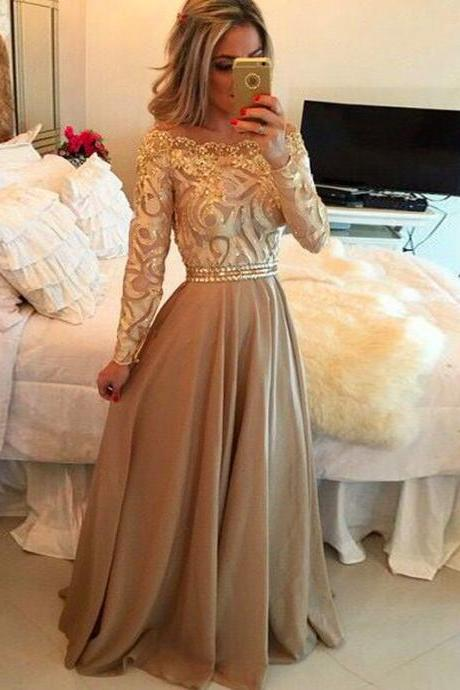 Long Sleeve Prom Dress,Beaded Prom Dress,Maxi Prom Dress,Fashion Prom Dress,Sexy Party Dress, New Style Evening Dress