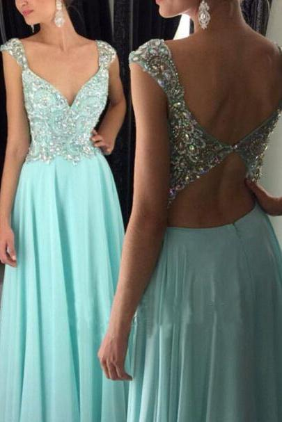 Backless Prom Dress,Beaded Prom Dress,Maxi Prom Dress,Fashion Prom Dress,Sexy Party Dress, New Style Evening Dress