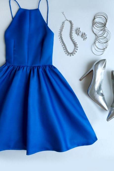 Royal Blue Prom Dress,Spaghetti Prom Dress,Mini Prom Dress,Fashion Homecoming Dress,Sexy Party Dress, New Style Evening Dress