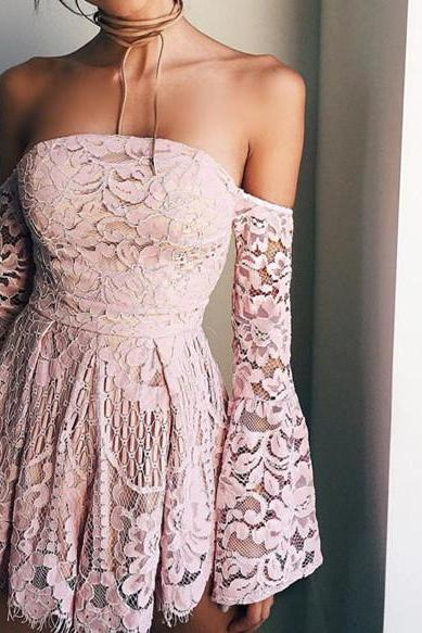 Lace Prom Dress,Off The Shoulder Prom Dress,Zipper Prom Dress,Fashion Homecoming Dress,Sexy Party Dress, New Style Evening Dress