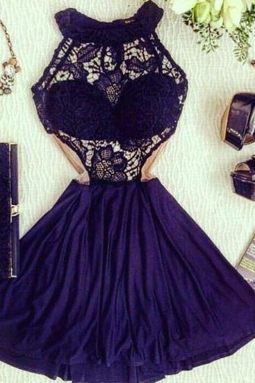 Midriff Prom Dress,Lace Prom Dress,Mini Prom Dress,Fashion Homecoming Dress,Sexy Party Dress, New Style Evening Dress