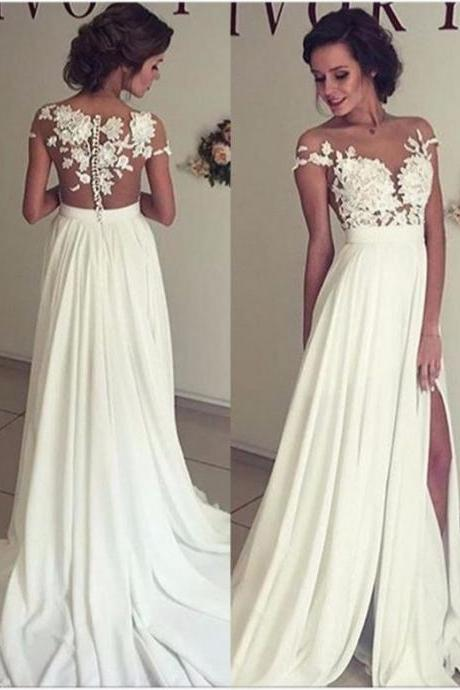 Floral Prom Dress,White Prom Dress,Split Prom Dress,Fashion Prom Dress,Sexy Party Dress, New Style Evening Dress