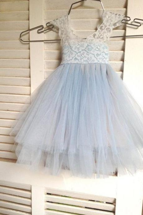 Flower Girl Prom Dress,Lace Prom Dress,Illusion Prom Dress,Fashion Bridesmaid Dress,Sexy Party Dress, New Style Evening Dress