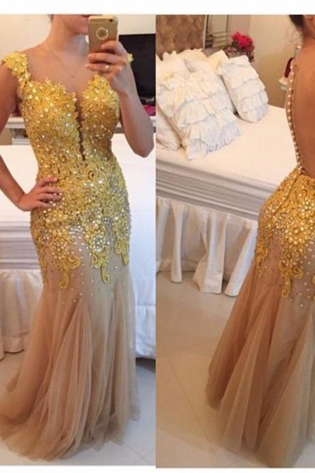 Applique Prom Dress,Beaded Prom Dress,Illusion Prom Dress,Fashion Prom Dress,Sexy Party Dress, New Style Evening Dress