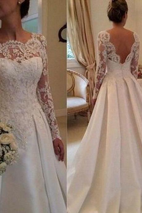 Backless Prom Dress,Lace Prom Dress,Long Sleeve Prom Dress,Fashion Bridal Dress,Sexy Party Dress, New Style Evening Dress