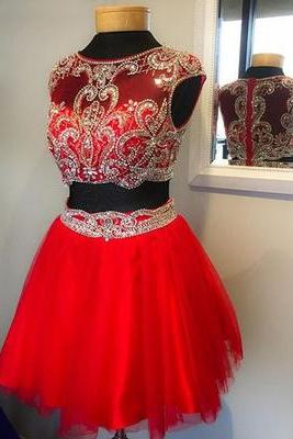 Red Prom Dress,Beaded Prom Dress,Mini Prom Dress,Fashion Homecoming Dress,Sexy Party Dress, New Style Evening Dress