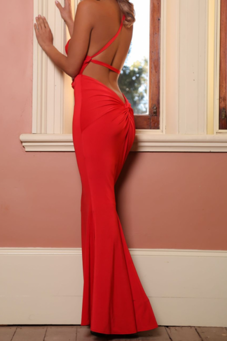 Backless Prom Dress,Red Prom Dress,Mermaid Prom Dress,Fashion Prom Dress,Sexy Party Dress, New Style Evening Dress