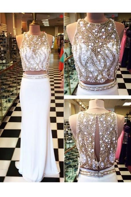 Beaded Prom Dress,Mermaid Prom Dress,Two Pieces Prom Dress,Fashion Prom Dress,Sexy Party Dress, New Style Evening Dress