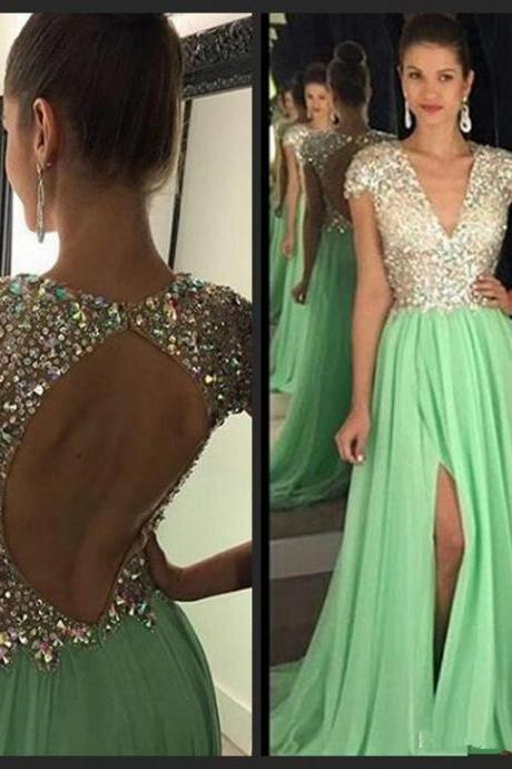 Backless Prom Dress,Short Sleeve Prom Dress,Beaded Prom Dress,Fashion Prom Dress,Sexy Party Dress, New Style Evening Dress
