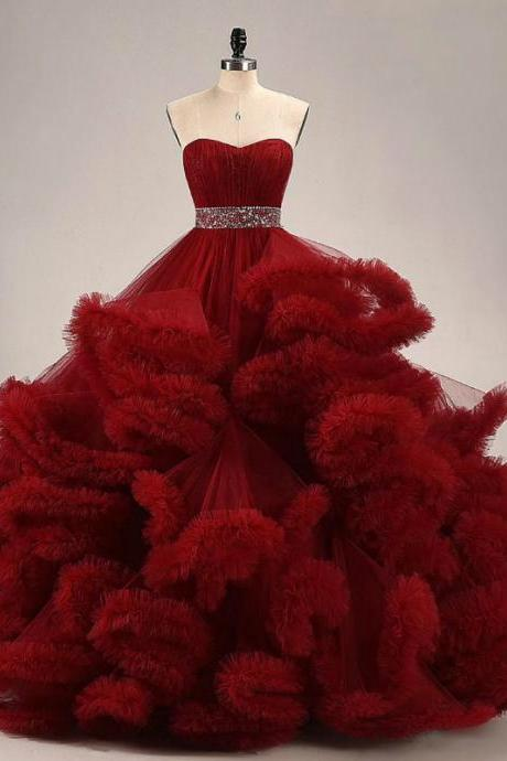 Modest Quinceanera Dress,Flouncing Ball Gown,Beaded Prom Dress,Fashion Prom Dress,Sexy Party Dress, New Style Evening Dress