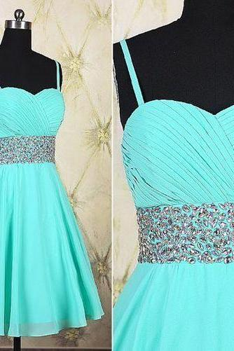 Spaghetti Prom Dress,Beaded Prom Dress,Chiffon Prom Dress,Fashion Homecoming Dress,Sexy Party Dress, New Style Evening Dress