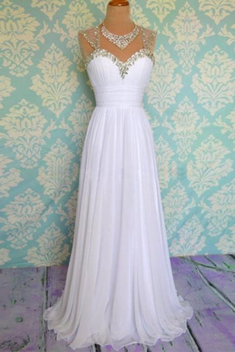 White Prom Dress,Beaded Prom Dress,Chiffon Prom Dress,Fashion Prom Dress,Sexy Party Dress, New Style Evening Dress