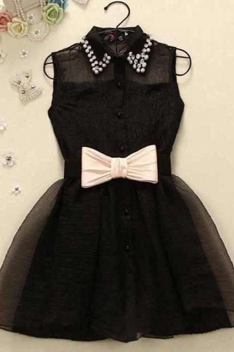 Black Prom Dress,Bowknot Prom Dress,Mini Prom Dress,Fashion Homecoming Dress,Sexy Party Dress, New Style Evening Dress