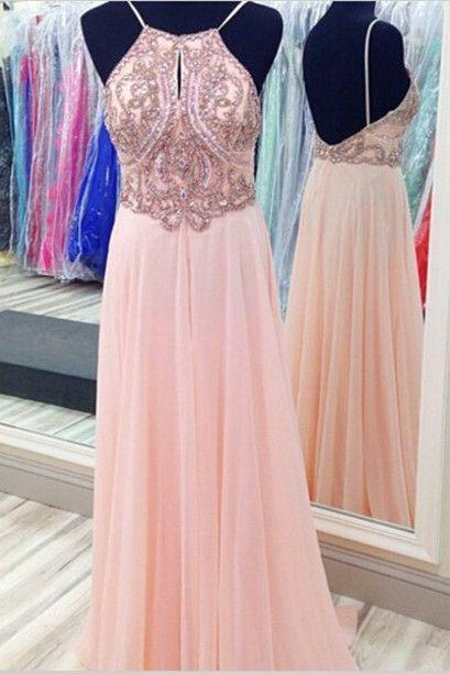Pink Prom Dress,Backless Prom Dress,Beaded Prom Dress,Fashion Prom Dress,Sexy Party Dress, New Style Evening Dress