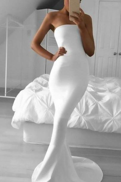 Strapless Prom Dress,White Prom Dress,Mermaid Prom Dress,Fashion Prom Dress,Sexy Party Dress, New Style Evening Dress