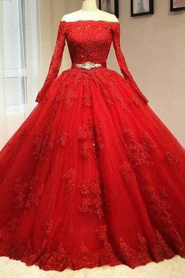 Red Prom Dress,Lace Prom Dress,Long Sleeve Prom Dress,Fashion Bridal Dress,Sexy Party Dress, New Style Evening Dress