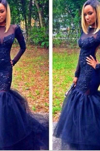 Mermaid Prom Dress,Long Sleeve Prom Dress,Lace Prom Dress,Fashion Prom Dress,Sexy Party Dress, New Style Evening Dress