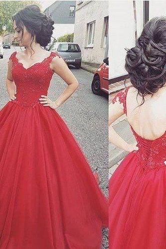 Red Prom Dress,Lace Prom Dress,Charming Ball Gown,Fashion Bridal Dress,Sexy Party Dress, New Style Evening Dress