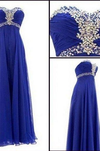 Royal Blue Prom Dress,Beaded Prom Dress,Sweetheart Prom Dress,Fashion Prom Dress,Sexy Party Dress, New Style Evening Dress