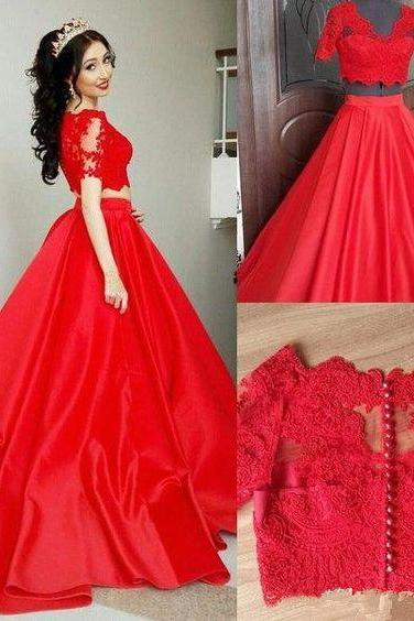 Red Prom Dress,Lace Prom Dress,Two Pieces Prom Dress,Fashion Prom Dress,Sexy Party Dress, New Style Evening Dress