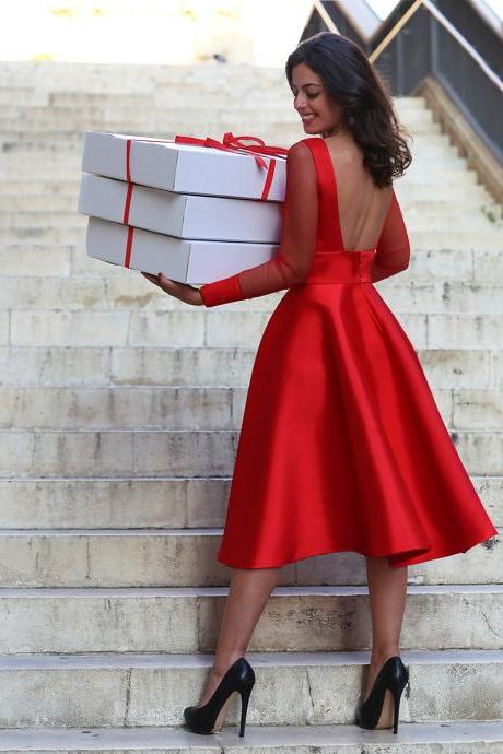 Red Prom Dress,Backless Prom Dress,Long Sleeve Prom Dress,Fashion Prom Dress,Sexy Party Dress, New Style Evening Dress