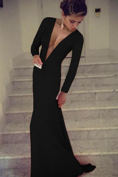 Black Prom Dress,Sheath Prom Dress,Long Sleeve Prom Dress,Fashion Prom Dress,Sexy Party Dress, New Style Evening Dress