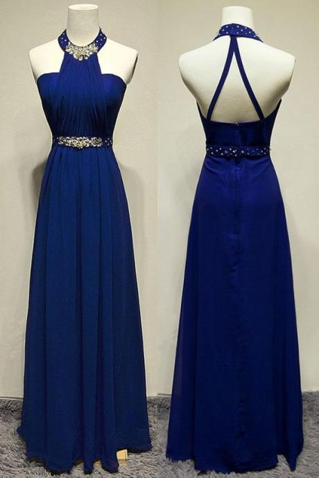 Backless Prom Dress,Halter Prom Dress,Beaded Prom Dress,Fashion Prom Dress,Sexy Party Dress, New Style Evening Dress