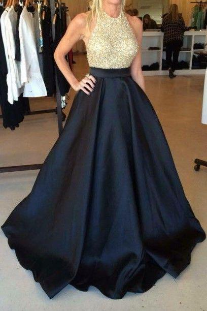 A Line Prom Dress,Beaded Prom Dress,Halter Prom Dress,Fashion Prom Dress,Sexy Party Dress, New Style Evening Dress