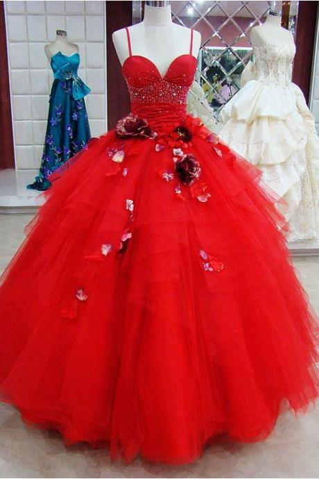 Modest Quinceanera Dress,Red Ball Gown,Floral Prom Dress,Fashion Prom Dress,Sexy Party Dress, New Style Evening Dress